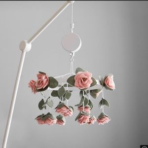Pottery barn felted rose mobile with arm